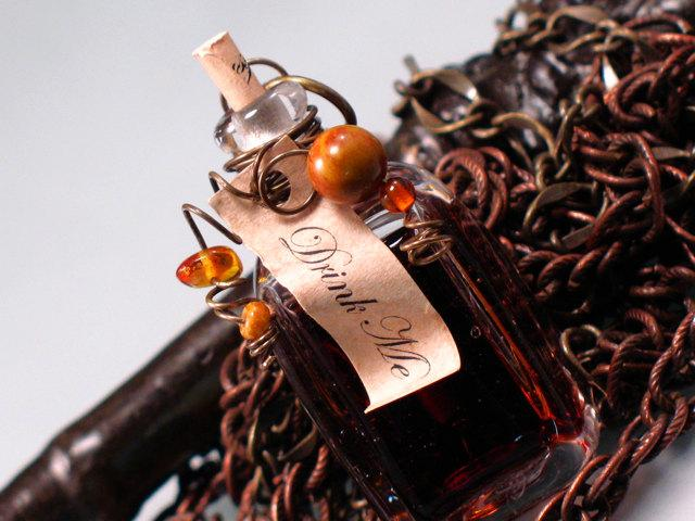 Drink Me Handmade Lampwork Pendant Plus Antique by PaytonJett