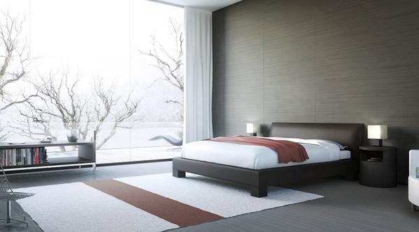 Beds interior beds interior bedroom window panes modern 3d for Modern 3d wallpaper for bedroom