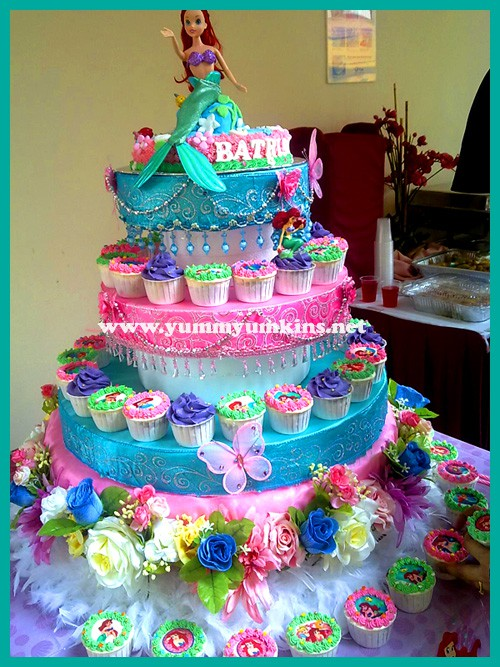 Party People / Little Mermaid cupcake cake