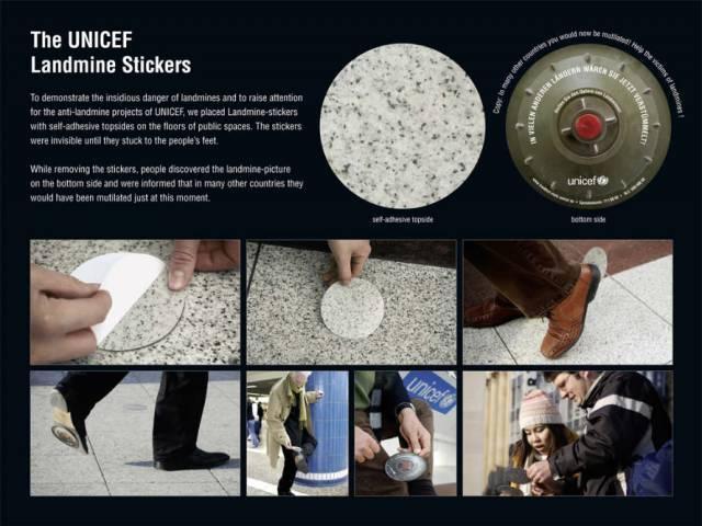 Unicef : Landmine Stickers [image] | scaryideas.com