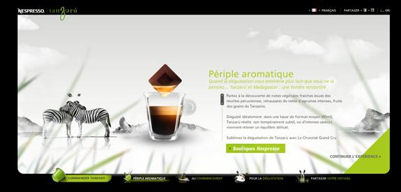 Site Flash : Nespresso Tanzaru | WebdesignerTrends - Ressources utiles pour le webdesign, actus du web, sélection de sites et de tutoriels