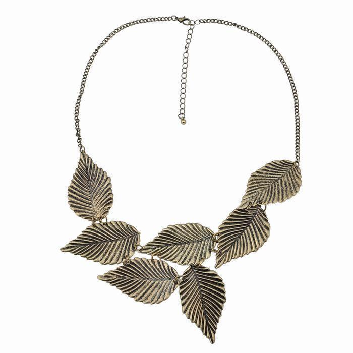 LARGE 7 leaf necklace retro brass tone gift for by dollarjewelry