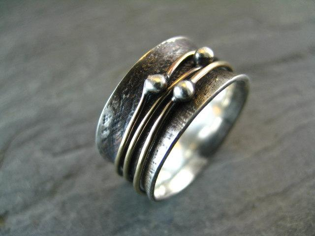 Orbit Ring with Patina by stonesthrowjewelry on Etsy