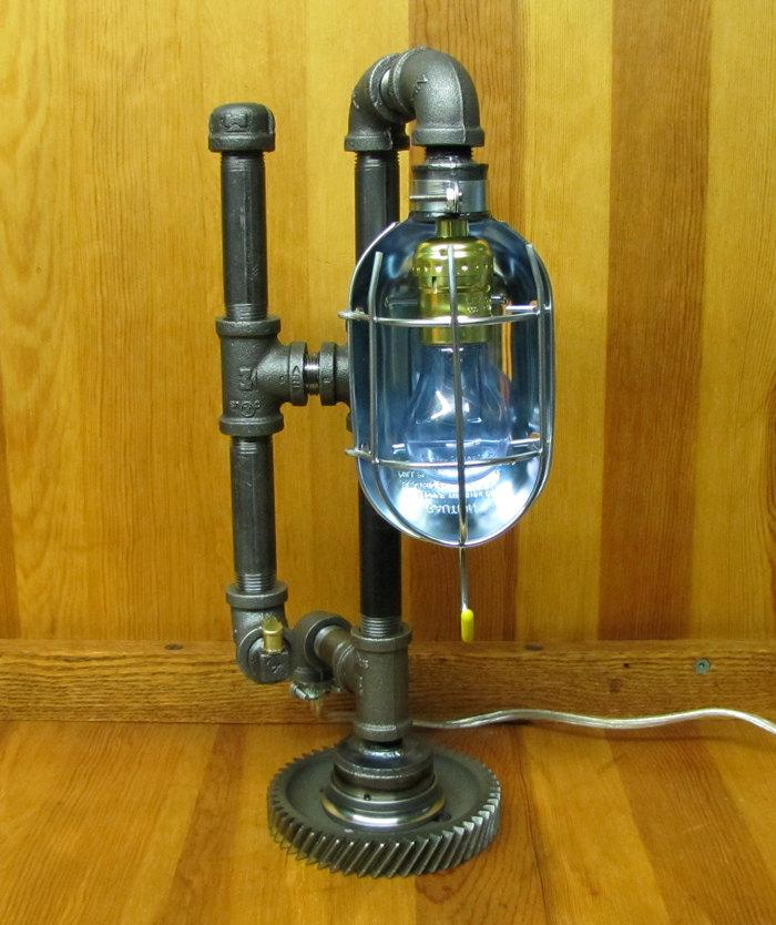 Steampunk Table Lamp Caged Light by ranaway on Etsy