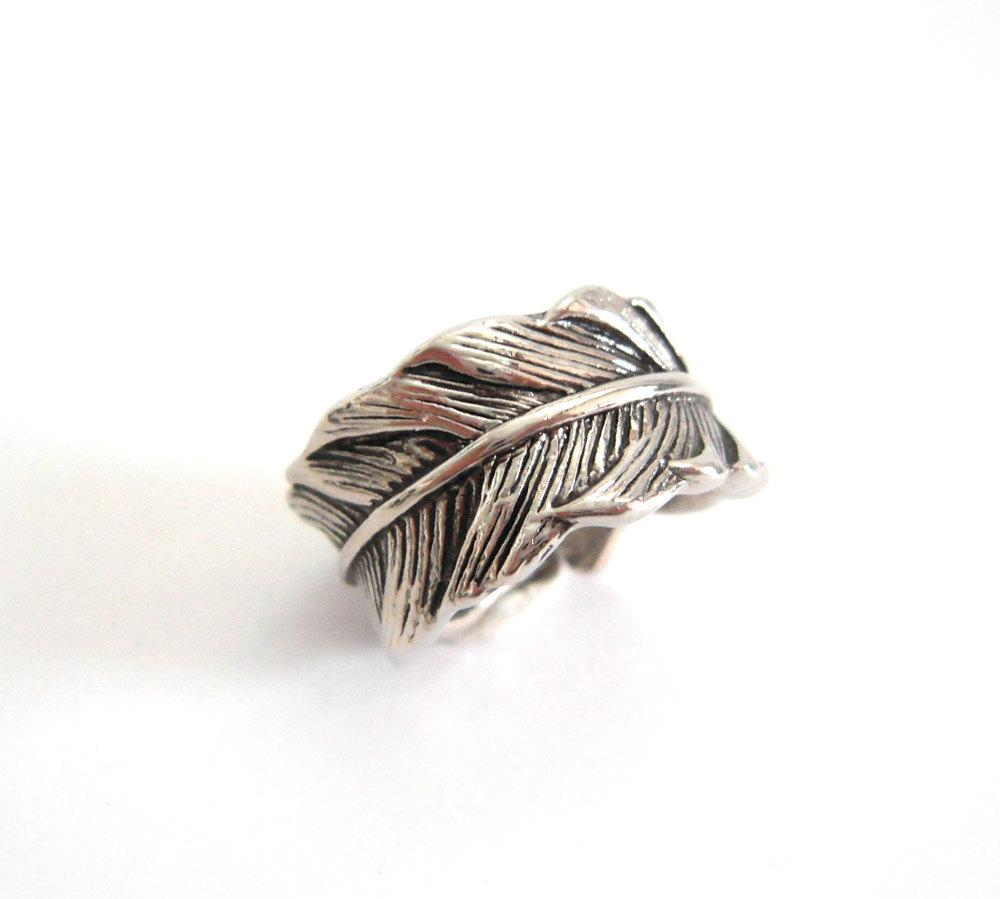 Woodland Wonder Leaf Ring Antique Silver by REDbytina on Etsy