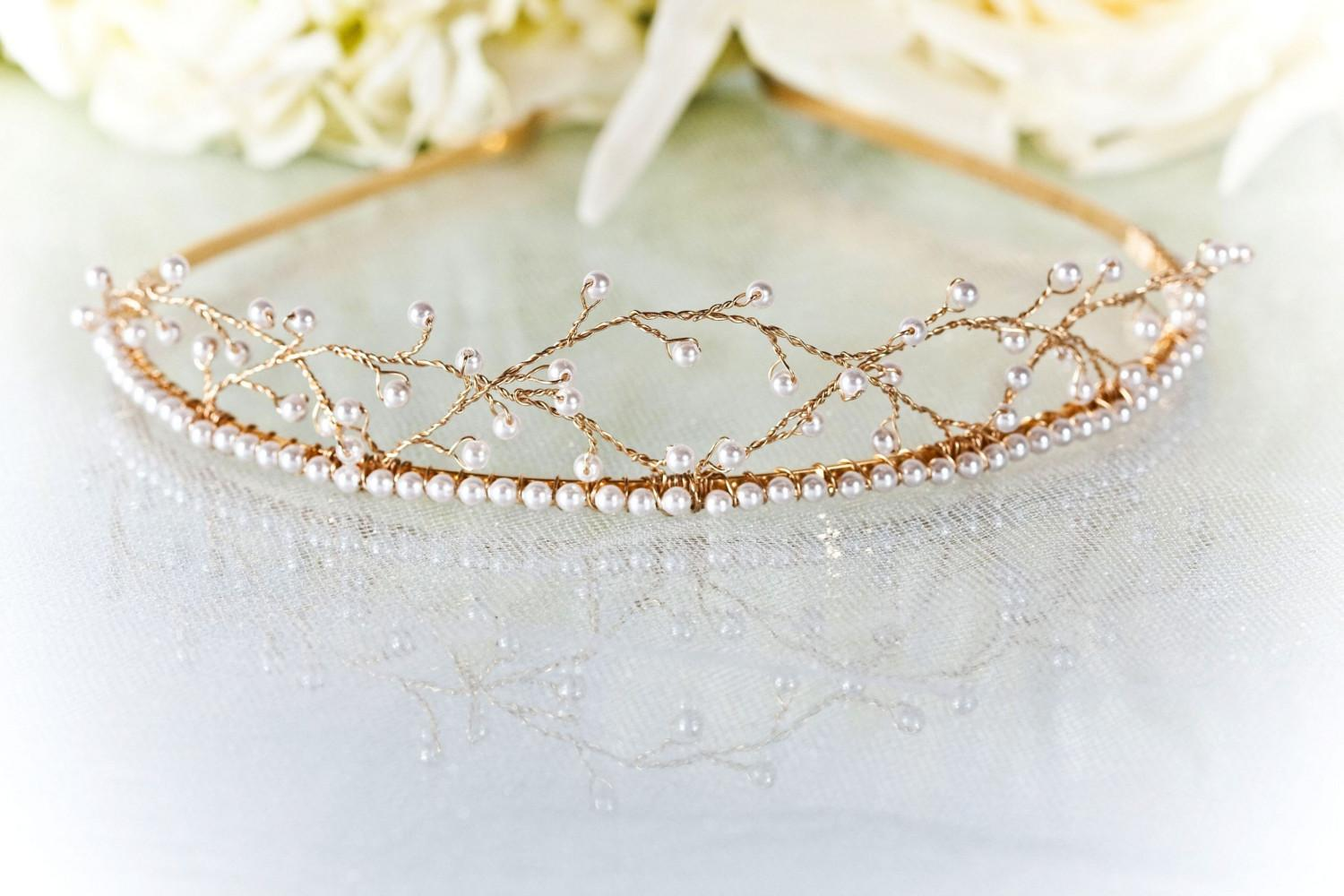 Bridal Tiara Swarovski Pearl and 14K Gold by TiffaniSaxtonDesigns