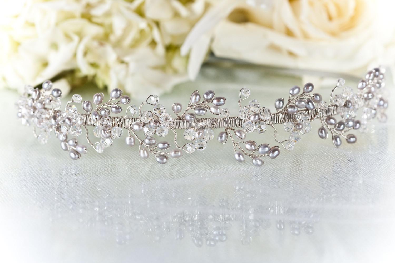 Leaflet Headband Pearl Swarovski Crystal by TiffaniSaxtonDesigns