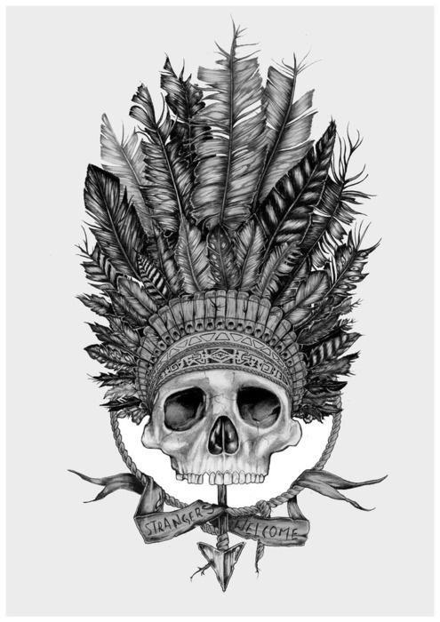 Native American Skull Tattoo Designs