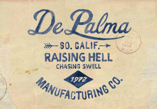 Brush lettering for DePalma Clothing on