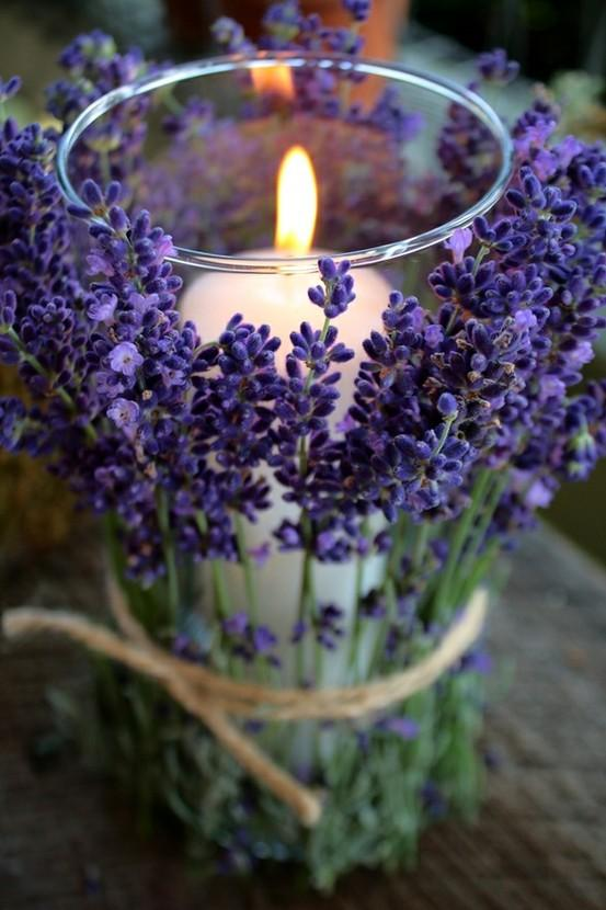 C R A F T Y ? / Lavender tied around votives. Beautiful.