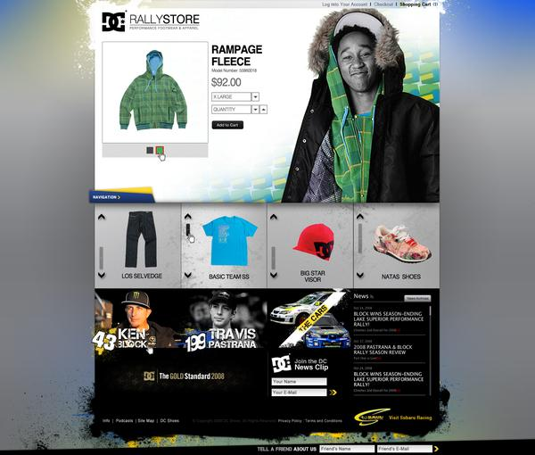 DC Shoes Subaru Rally Website Design