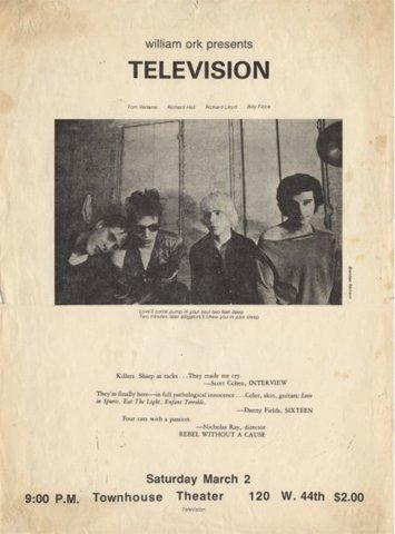 The flier for Television's first concert (1974) ... - Covenger & Kester