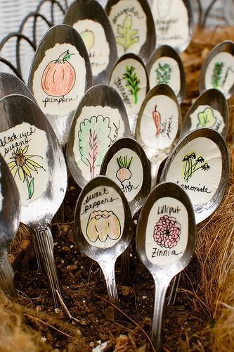 Garden / Recycled Spoon Garden Markers «
