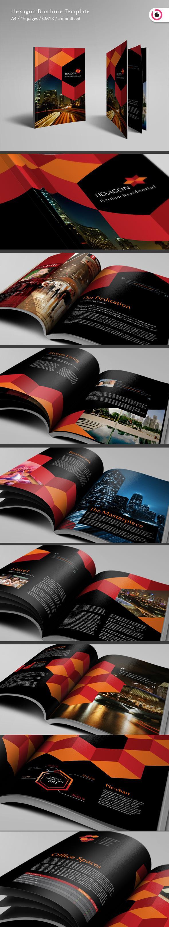 Hexagon Brochure Template on