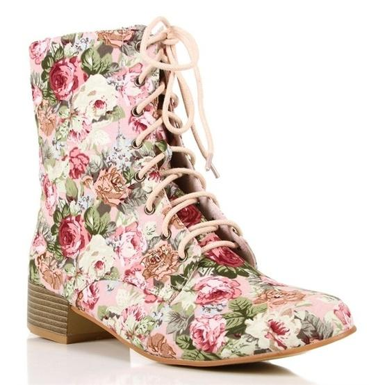 Polyvore / Pink Floral Lace Up Boots ($30) ? liked on Polyvore