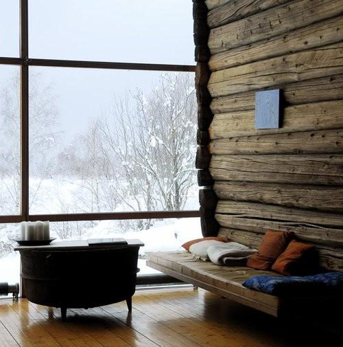 Reminders that winter isn't so bad / modern cozy log cabin in the wintertime. makes me want to snuggle up with hot cocoa and just watch the snow fall.
