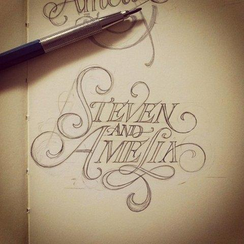 Steven and Amelia typography.