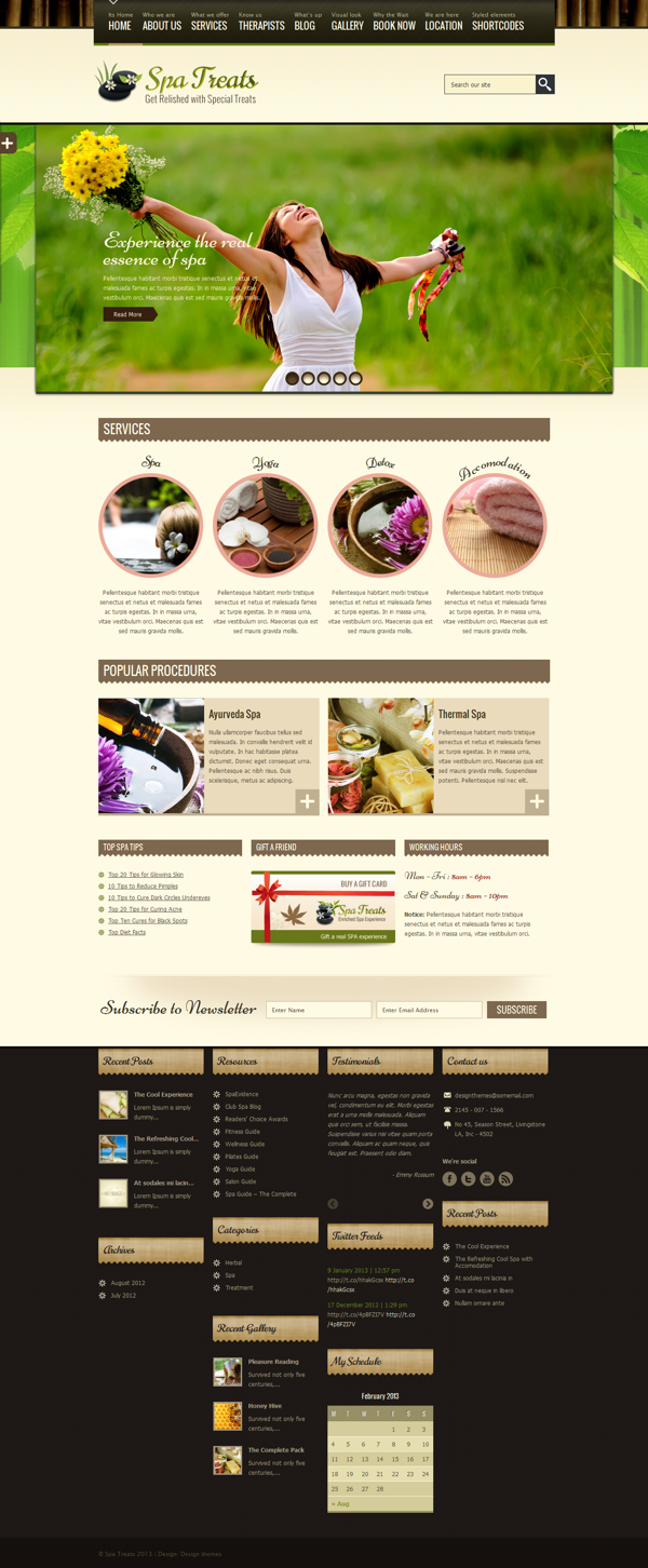 Spa Treats - Responsive Wordpress Theme on