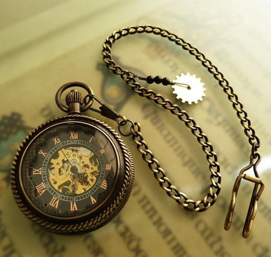 Steampunk / Dark Skeleton Pocket Watch on a Pocket Watch by OWLandHOURGLASS
