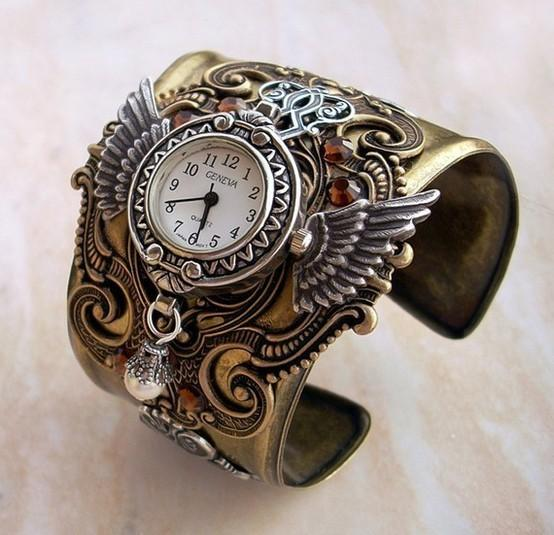 Steampunk Inspiration / Steampunk Watch Cuff in brass and silver by Aranwen on Etsy