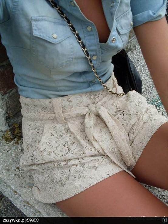 Style Inspiration / Lace shorts and denim shirt.