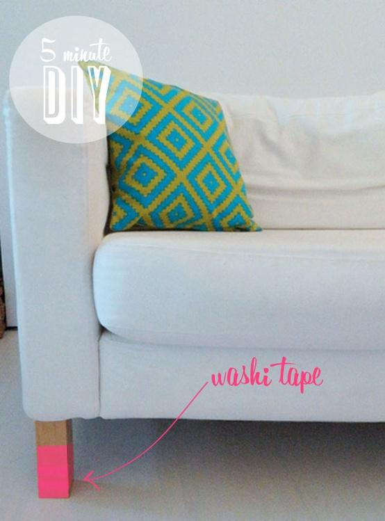 TO DO / Five Minute DIY: Washi Tape Sofa Legs