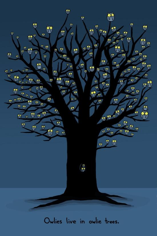 Tree Illustration / Owlies live in owlie trees. Sebastien Millon.