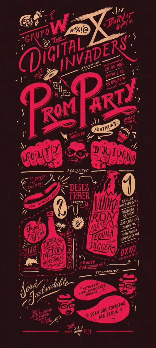 Typography & Lettering / Digital Invaders Prom Party — Designspiration