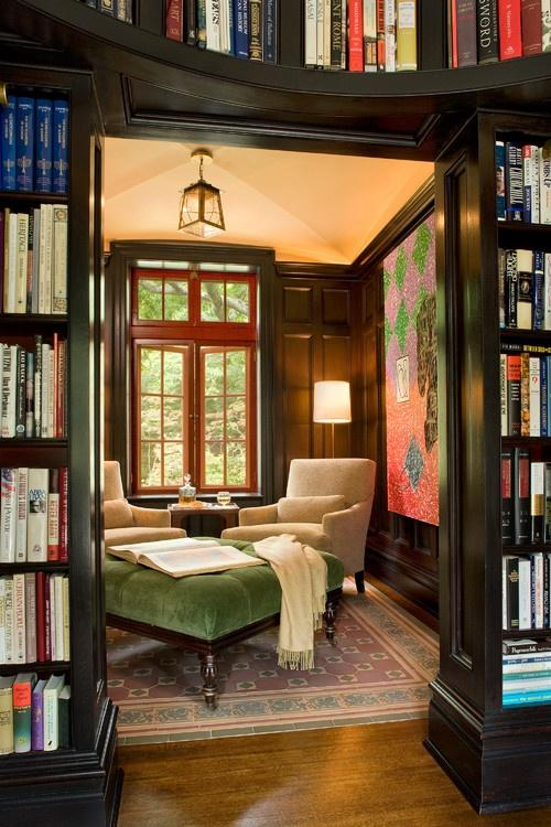 Wishing . . . / Imagine picking a book from the one of these bookcases, then lazing the day away in this cozy library, reading that book:) Glorious!